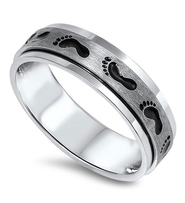 Spinner Footprint Baby Classic Ring 316L Stainless Steel Brushed Band Sizes 8-15 - CP11Y61BI1L