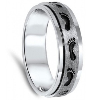 Spinner Footprint Classic Stainless Brushed in Women's Band Rings