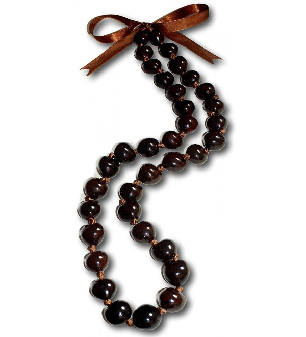 "Native Treasure - 32"" Brown Kukui Nut Necklace Lei Chunky Bead - CK111OVRY0F"