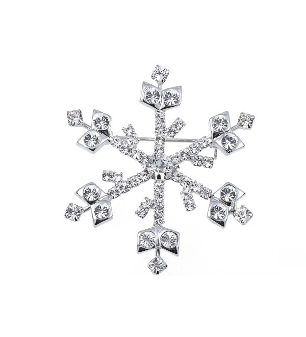 Alilang Silvery Tone Clear Rhinestones Winter Holiday Snowflake Brooch Pin - C3119LR4PZL