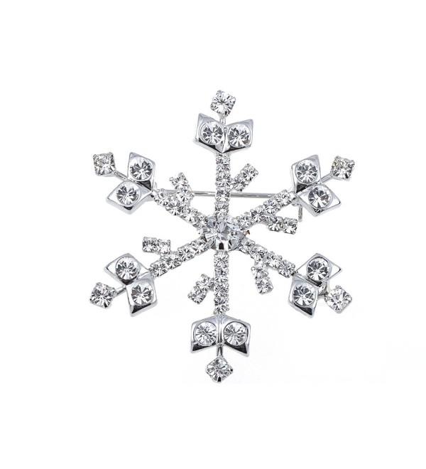 Alilang Silvery Tone Clear Rhinestones Winter Holiday Snowflake Brooch Pin - C3119LR4PZL