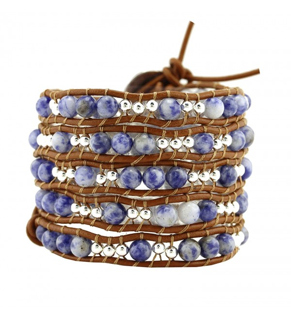 Womens Simulated Gemstones Beaded Leather Wrap Around Bracelet - CE126CAAV69
