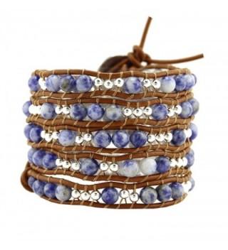 Womens Simulated Gemstones Beaded Leather Wrap Around Bracelet - CE126CAAV69