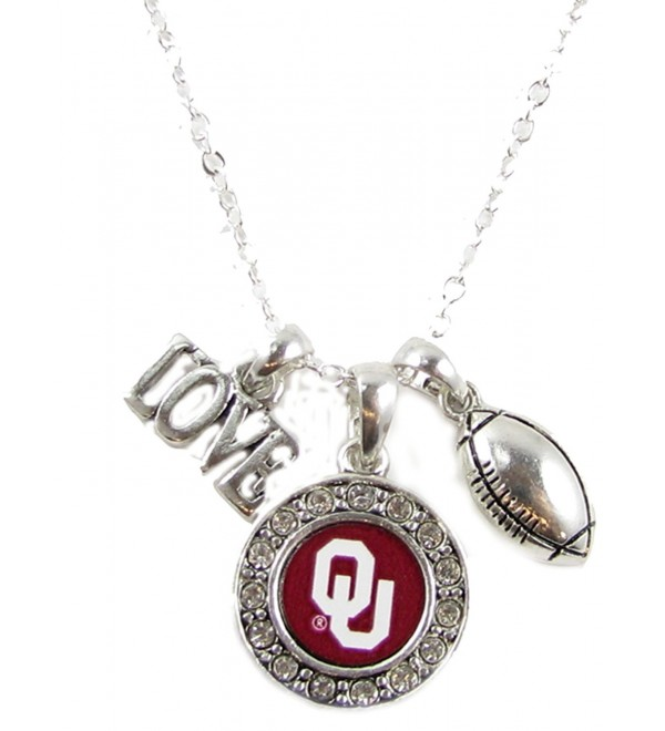 Oklahoma Sooners Multi Charm Love Football Red Silver Necklace Jewelry OU - C811PCV3B7X