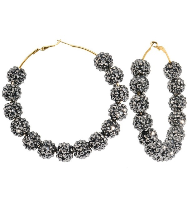 3 Inch Starry Night Black Sparkle Ball Hoop Earrings - C411901FZAB