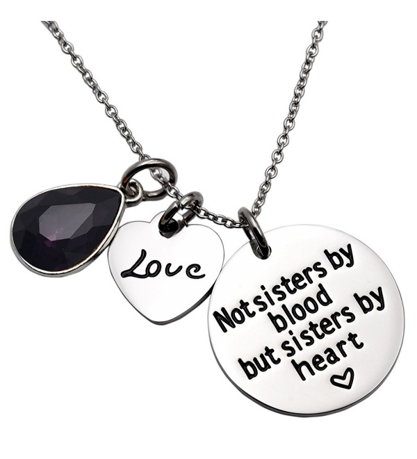 Not Sister By Blood But Sisters By Heart Necklace Birthstone Heart Necklace - February - CZ1895NQXO6