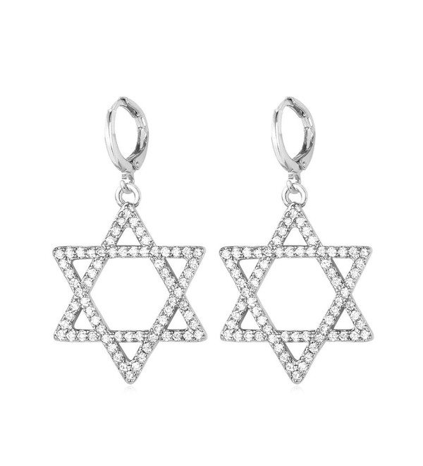 U7 Women Teen Platinum/18K Gold Plated CZ Star of David Dangle Earring - Platinum - CN12MAK4TP8