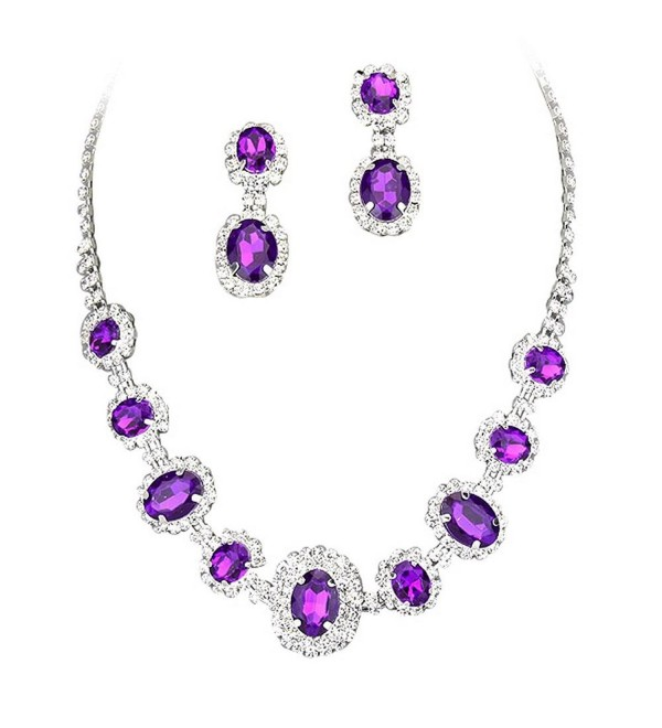 Purple Regal Rhinestone Crystal Statement Bridal Bridesmaid Necklace Earring Set Silver Tone F5 - CR11US753C7