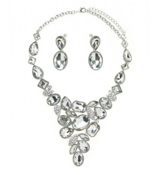 Women's Evening Gala Necklace and Earring Set - Multi Shape Gemstone - Clear/Silver-Tone - CS12F1I3C43