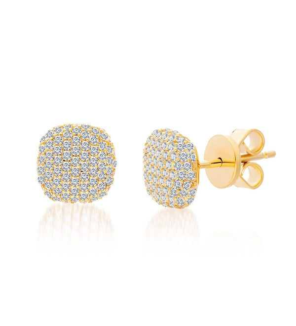 Mia Sarine Womens Cubic Zirconia Pave Cushion Post Earrings in Yellow Gold over Sterling Silver - C712LJIDS1L