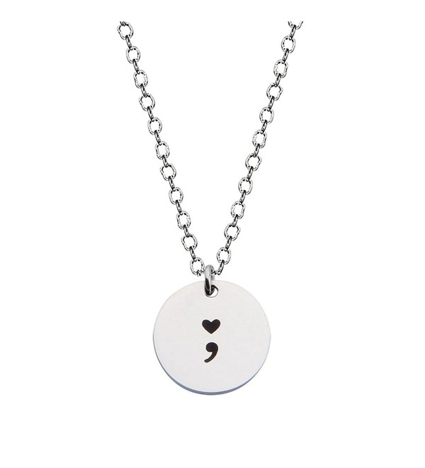 Heart Semicolon Necklace with Black Hand Stamped Symbol - CV12N1IHM0V