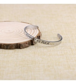 Bracelet Engraved Inspirational Feminist Stamped in Women's Bangle Bracelets