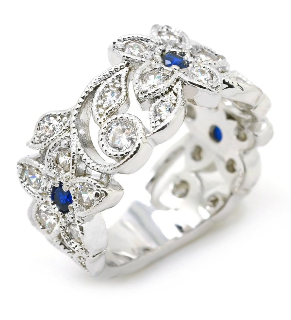 Sparkly Bride Vintage Blue CZ Fashion Statement Ring Flower Leaves Wide Band Women - CO12DI8PUBL