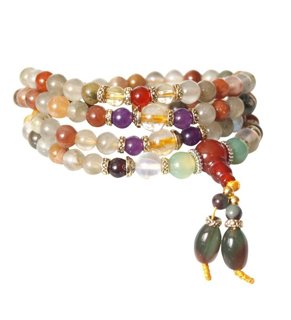 6mm Natural Colorful Crystal Quartz Beads Buddhist Prayer Mala Necklace Bracelet - C9125JJJXD3