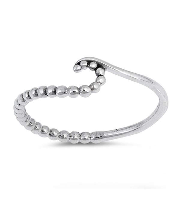 Ball Bead Wave Cute Thin Statement Ring New .925 Sterling Silver Band Sizes 3-10 - CN12OD3QBUB
