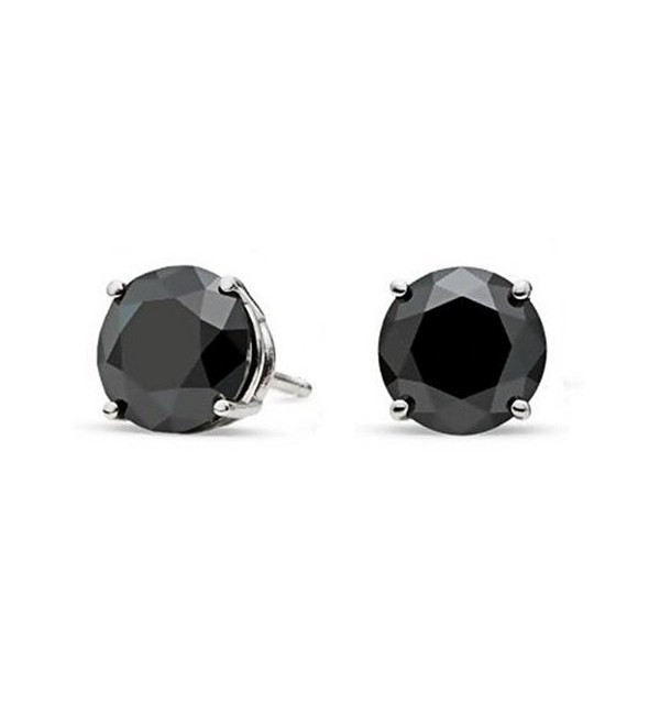 Sterling Silver Black 3mm Round Cubic Zirconia CZ Stud Earrings - CF115OX69YV
