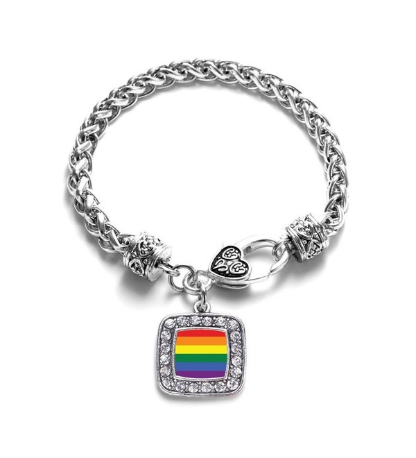 LGBT Gay Pride Classic Silver Plated Square Crystal Charm Bracelet - CE11KY4U6VR