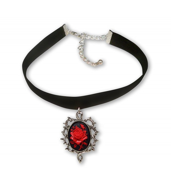 Gothic Red Rose Cameo Black Velvet Choker Adjustable Size Cosplay Jewelry - CE12BHS133X