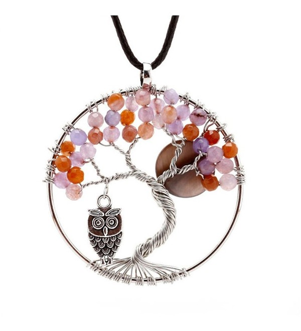 Natural Topaz Handmade Tree Pendant Necklace - The mangrove Owl And Moon - Purple - CM12K9V5O0H