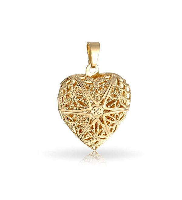 Bling Jewelry Gold Filled Star Pattern Filigree Heart Shaped Locket Pendant - CK11DFM2I43
