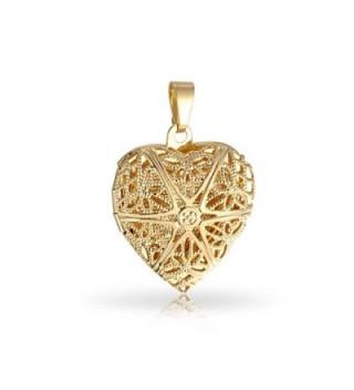 Bling Jewelry Gold Filled Star Pattern Filigree Heart Shaped Locket Pendant - CK11DFM2I43