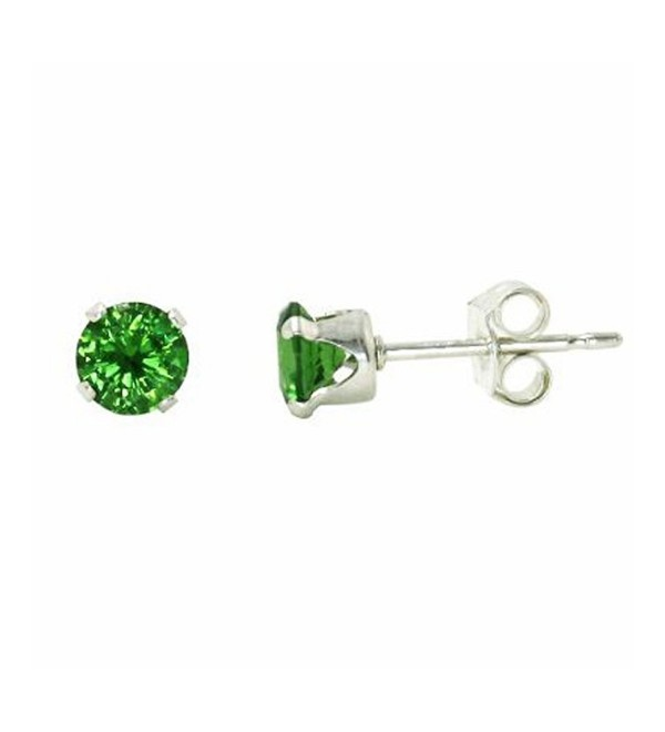 Sterling Silver Green 3mm Round Cubic Zirconia CZ Stud Earrings - CV115OX2LIJ