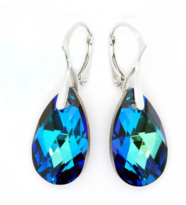 Sterling Silver 925 Made with Swarovski Crystals Blue-Green Leverback Earrings for Women - CV11LTRZ8BL