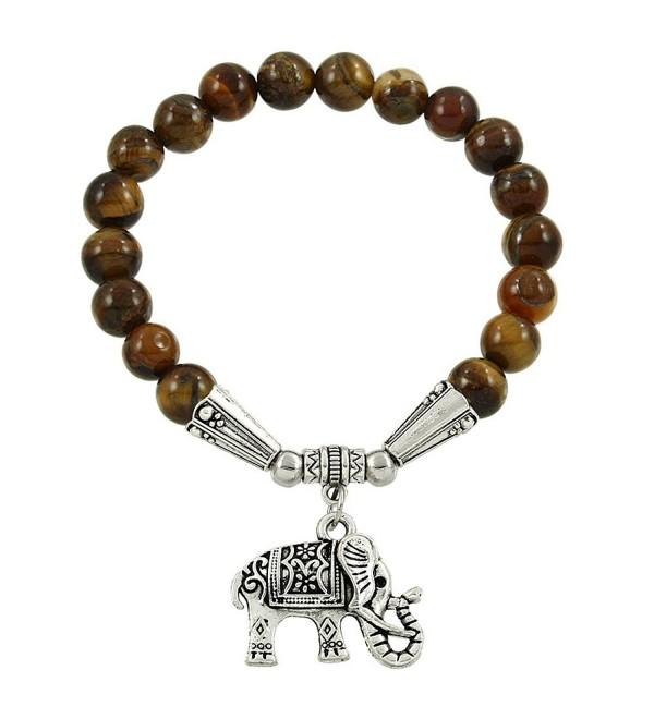 Falari Elephant Lucky Charm Natural Stone Bracelet Tiger-Eye B2448-TE - CT124HGMKDJ