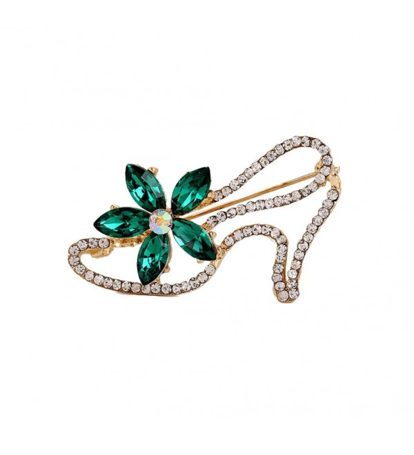 "Demarkt Fashion Crystal Flower High Heels Shoes Brooch Pins Scarf Buckle (Green) - ""		 	 Green	 	"" - CF186SYZXXT"