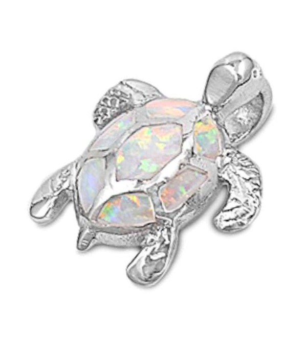 Turtle Sterling Silver Pendant Necklace - White Lab Created Opal - CF128XN0RVT