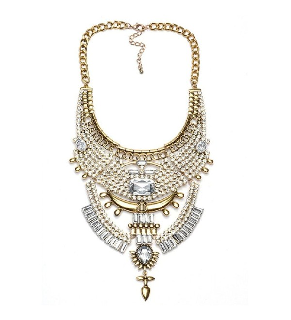 Stuffwholesale Chunky Turkish Bib Statement Necklace Marquise Pendant Choker Women Necklace Jewelry - Gold - CV12HIM8BRD