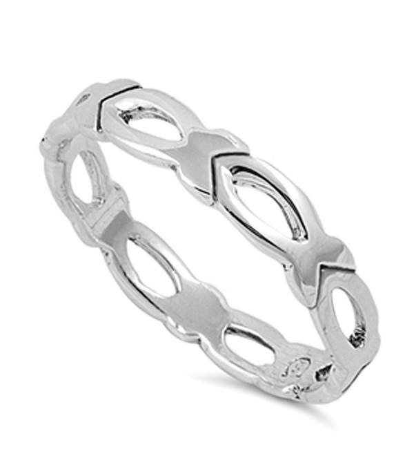 High Polish Christian Fish Loop Stackable Ring Sterling Silver Band Sizes 3-12 - CP187YUWTR3
