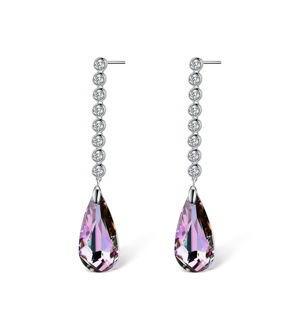 T400 Jewelers Earrings Swarovski Crystals - Purple - C0184UTNMG7