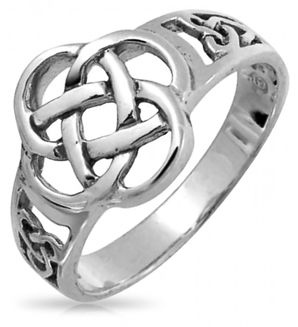 Celtic Open Knotwork Band Sterling Silver Ring - CR116UNHAKF