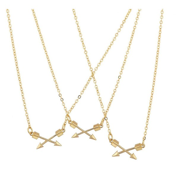 Lux Accessories BFF Best Friends Forever Triple Crossing Arrow Matching Necklace Set - CT120ISZSUH
