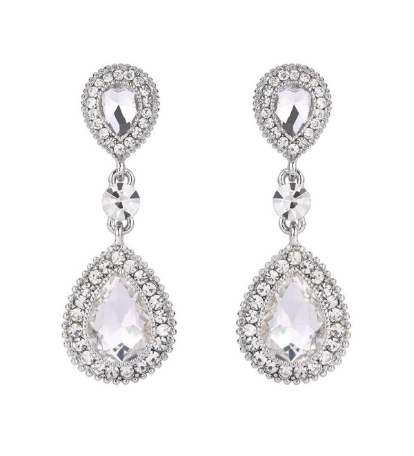 BriLove Women's Wedding Bridal Crystal Teardrop Infinity Figure 8 Beaded Dangle Earrings - Silver-Tone Clear - CQ12HDNQLG5