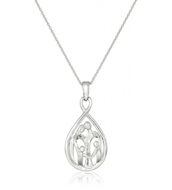 "Sterling Silver Family Pendant Necklace- 18"" - CV110ZQEZ93"
