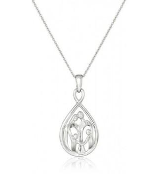 "Sterling Silver Family Pendant Necklace- 18"" - CV110ZQEZ93"