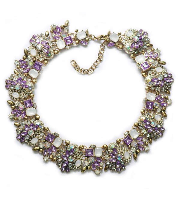 Houda Retro Elegant Rhinestone Jewelry Crystal Collar Choker Statement Bib Necklace - Purple - CK12JU66G2H