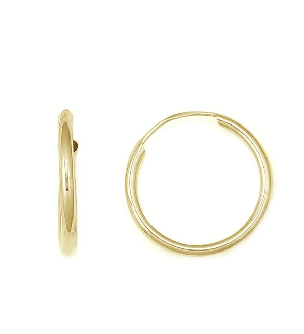 14K Solid Yellow Gold Hoops Endless Hoop Earrings 18mm - C211FQO7CZ3