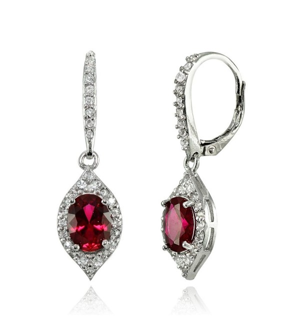 LOVVE Sterling Silver Gemstone & White Topaz Oval Dangle Earrings- Choice of Colors - Created Ruby - CO183S4485M