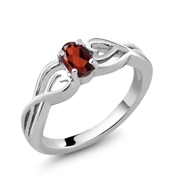 Sterling Silver Oval Red Garnet Gemstone Birthstone Women's Ring - CG116QY0GBT