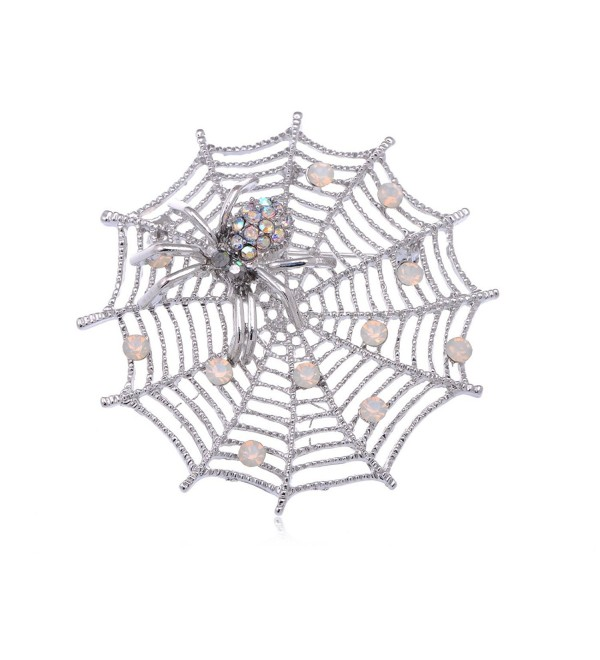 Alilang Womens Silvery Tone White Iridescent Halloween Spider Web Brooch Pin - CX114V73XGD