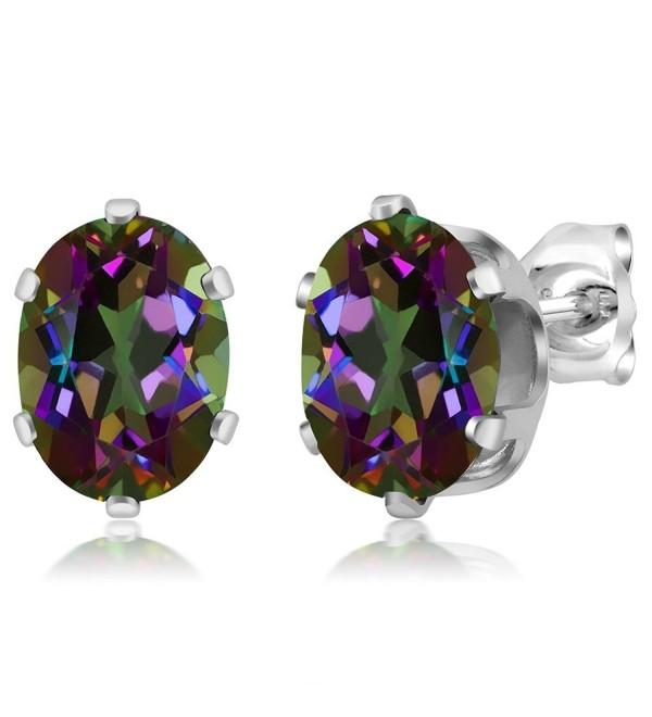 Sterling Silver Mystic Topaz Gemstone Birthstone Green Stud Earrings (2.90 cttw- Oval 8X6MM) - C1115SJY1W3