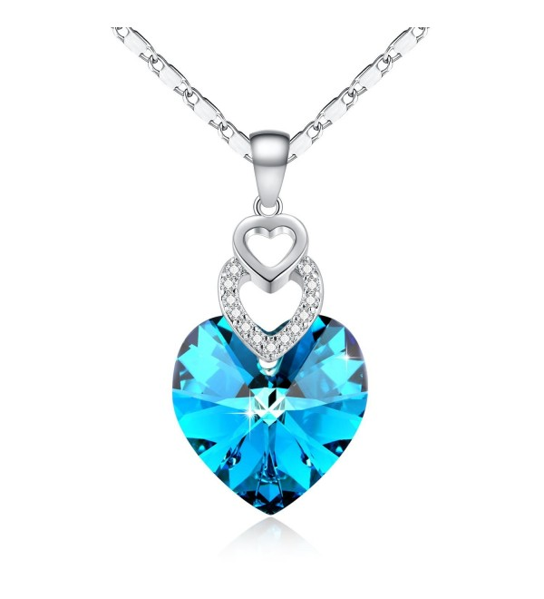 Sapphire Pendant Necklace Swarovski Adjustable - Ocean Blue - C517YWRQ85W