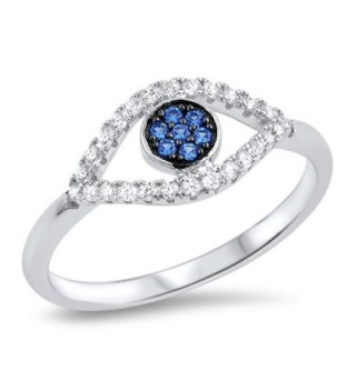 Evil Eye Blue Simulated Sapphire Micro Pave Ring .925 Sterling Silver Band Sizes 5-10 - CR12MX09K3W