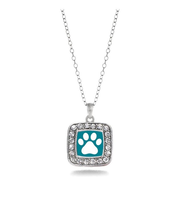 Pretty Paw Cat or Dog Print Charm Classic Silver Plated Square Crystal Necklace - C311MCHW0XL