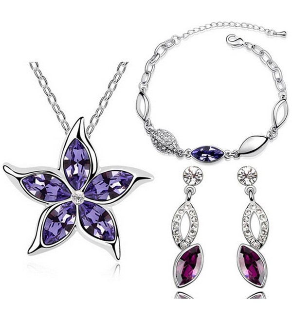 MAFMO Hot Sell Five Leaves Flower Pendant Jewelry Set Crystal Star Necklace Bracelet Earrings - Purple - CS12E9A2B9F