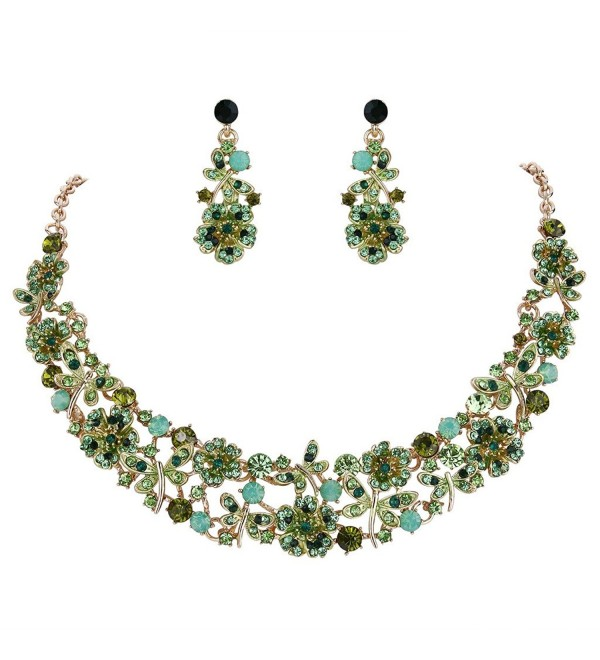 EVER FAITH Austrian Crystal Enamel Butterfly Hibiscus Floral Vine Necklace Earrings Set - Green Gold-Tone - CP186ZQ64KR