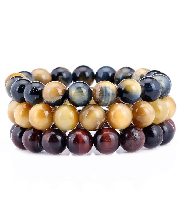 10MM Tiger Eye 7-7.5 Inch Stretchy Adjustable Stackable Bracelet Set of 3 - CO12542BIER